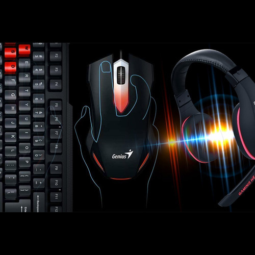 kit gamer genius kmh-200 teclado mouse audífono / lhua store