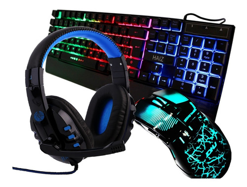 kit gamer headset led mouse 3200dpi teclado led hero100 hz6
