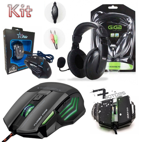 kit gamer headset microfone + mouse 7 botões usb pc desktop