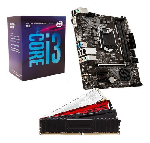 kit gamer intel core i3 8100 + h310m + 8gb + ssd 120gb