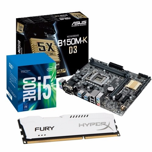 kit gamer intel core i5 7400 + b150m-k d3  + 8gb hyper x