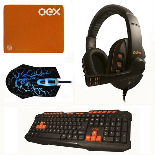 kit gamer oex teclado abnt + mouse 6 botões + fone headset