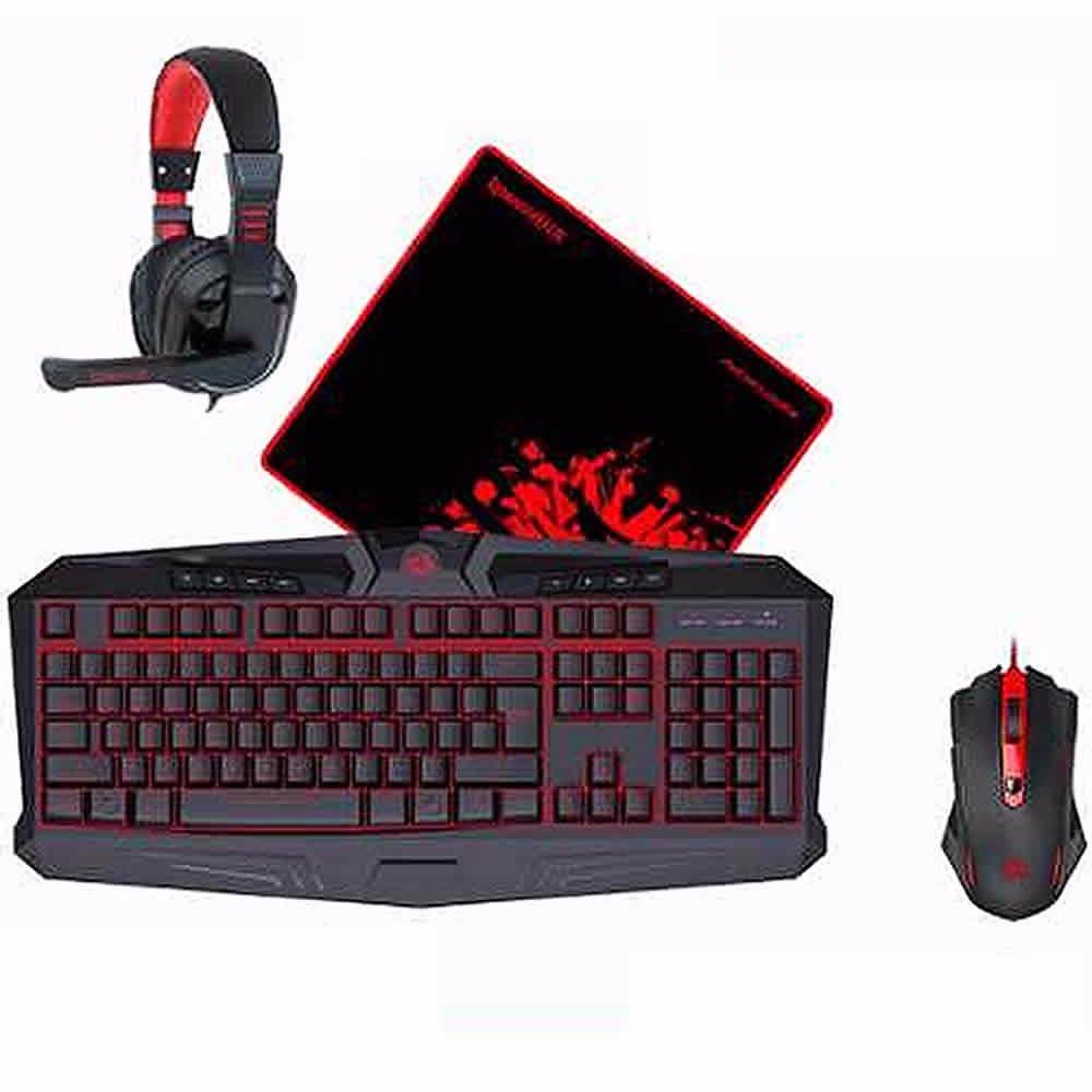 Kit Gamer Redragon S103 Waveimpact 4en1 Black And Red
