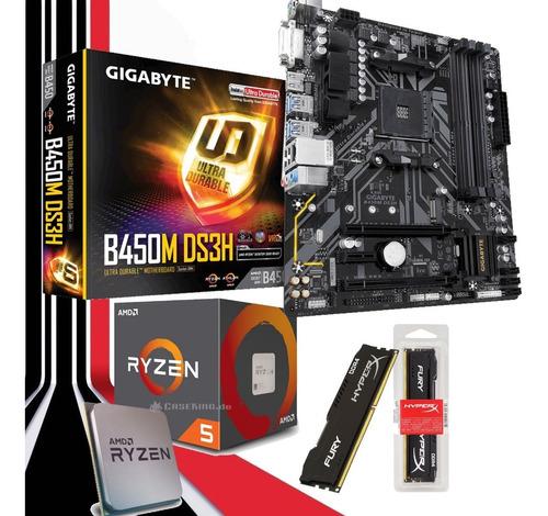 kit gamer ryzen 5 2600 + gigabyte b450m ds3h + hyperx 16gb
