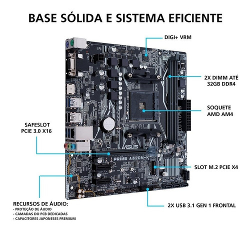 kit gamer ryzen r5-3400g + asus prime a320m+ mem 8gb corsair