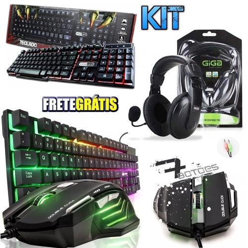 kit gamer teclado luminoso + mouse fone microfone headset pc