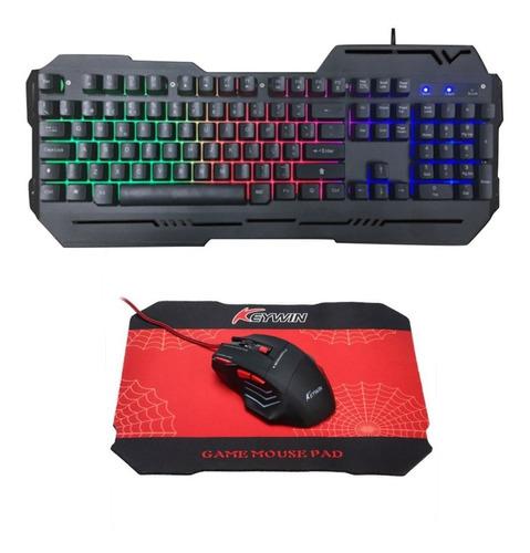 kit gamer teclado metálico + mouse 7 botones + pad gamer