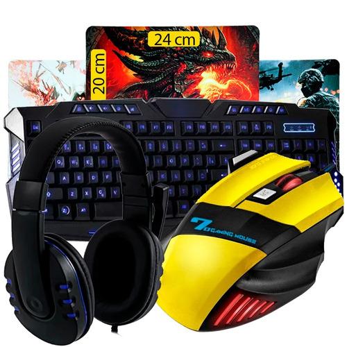 kit gamer teclado + mouse 7 botões + headset + mousepad k35