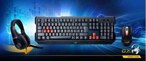 kit gamer teclado + mouse + audífono genius black itelsistem