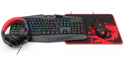 kit gamer teclado mouse auriculares redragon pc xbox ps4