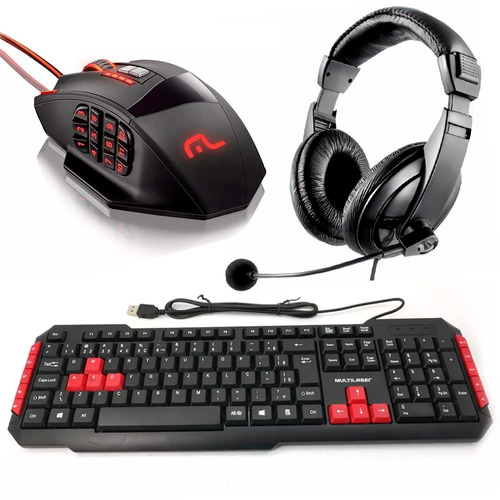 kit gamer teclado red + mouse 18 botões + fone headset