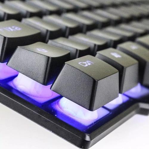 kit gamer teclado semi mecânico mouse gamer 3200dpi luminoso