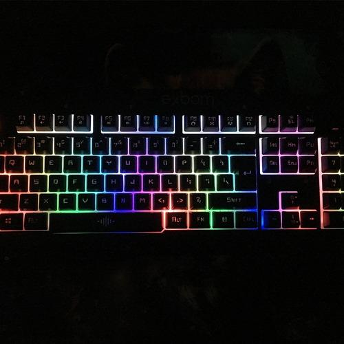 kit gamer teclado semi mecânico + mouse + mousepad + headset