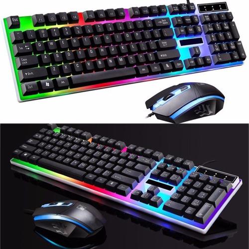 kit gamer teclado y mouse retroiluminado usb combo led g21
