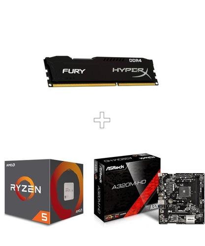 kit gamer upgrade ryzen 5 2600 + asrock a320m-hd completo