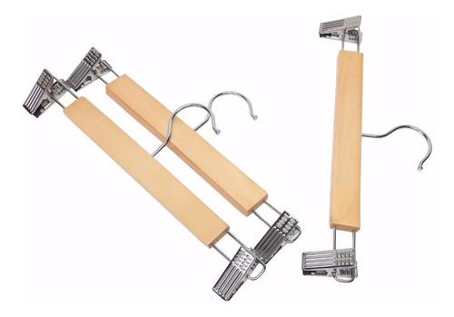 kit ganchos madera 30 de ropa de 10 pantalón
