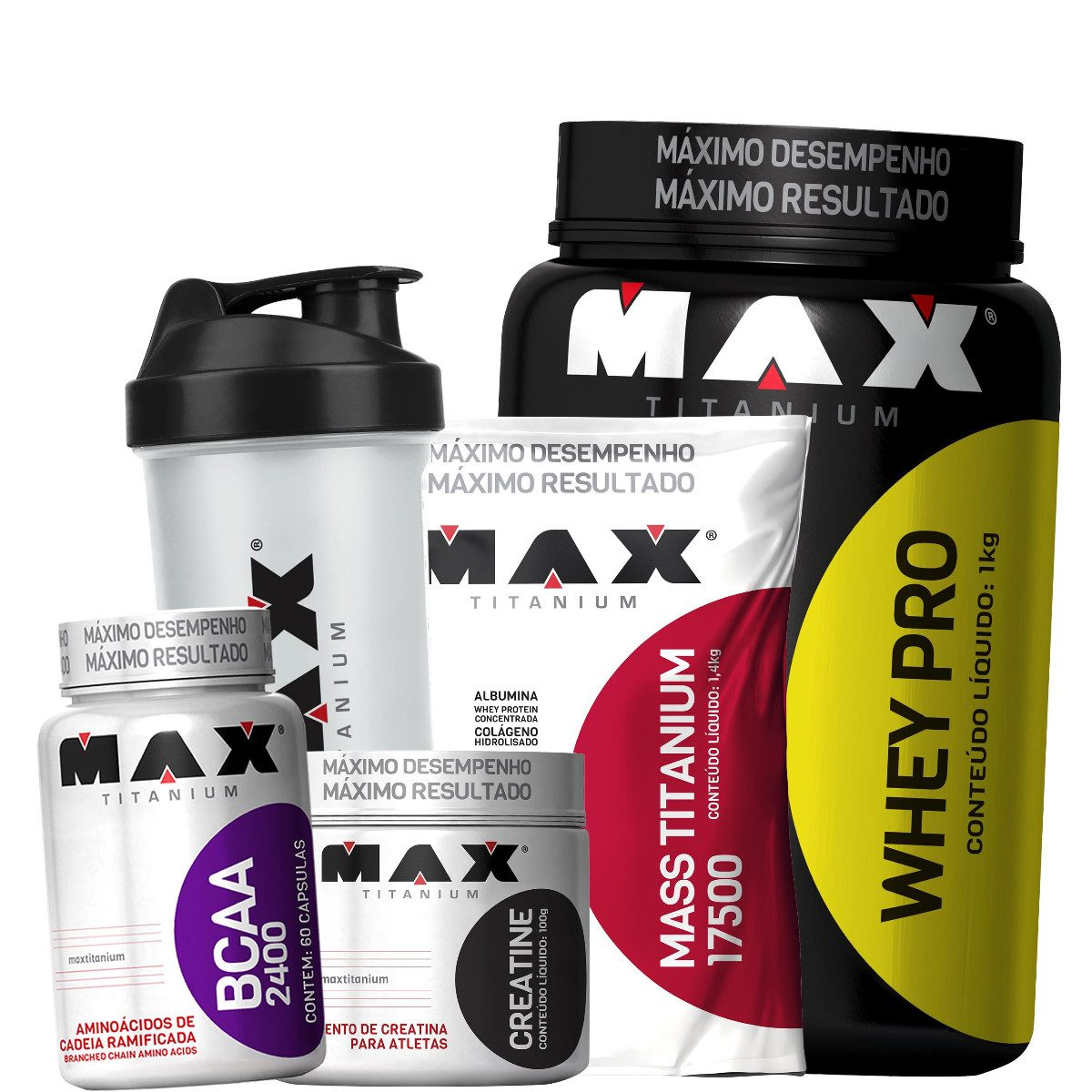 9135cdb64 Kit Ganho De Massa Muscular Max Titanium - R  99