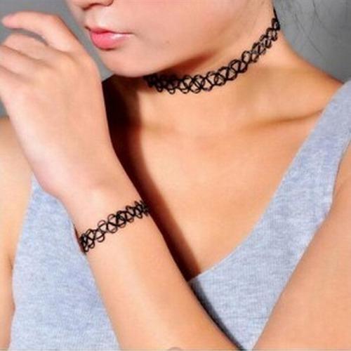 kit gargantilha choker tatto tatuagem colar pulseira e anel