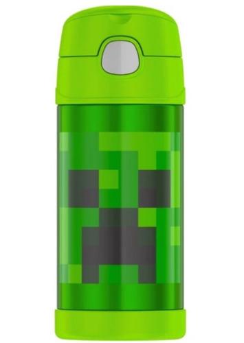 kit garrafa thermos termica + pote alimento- minecraft