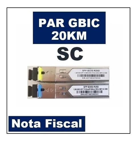 kit gbic 20km sc bidi tx1310-rx1550 + tx1550-rx1310 + nfe