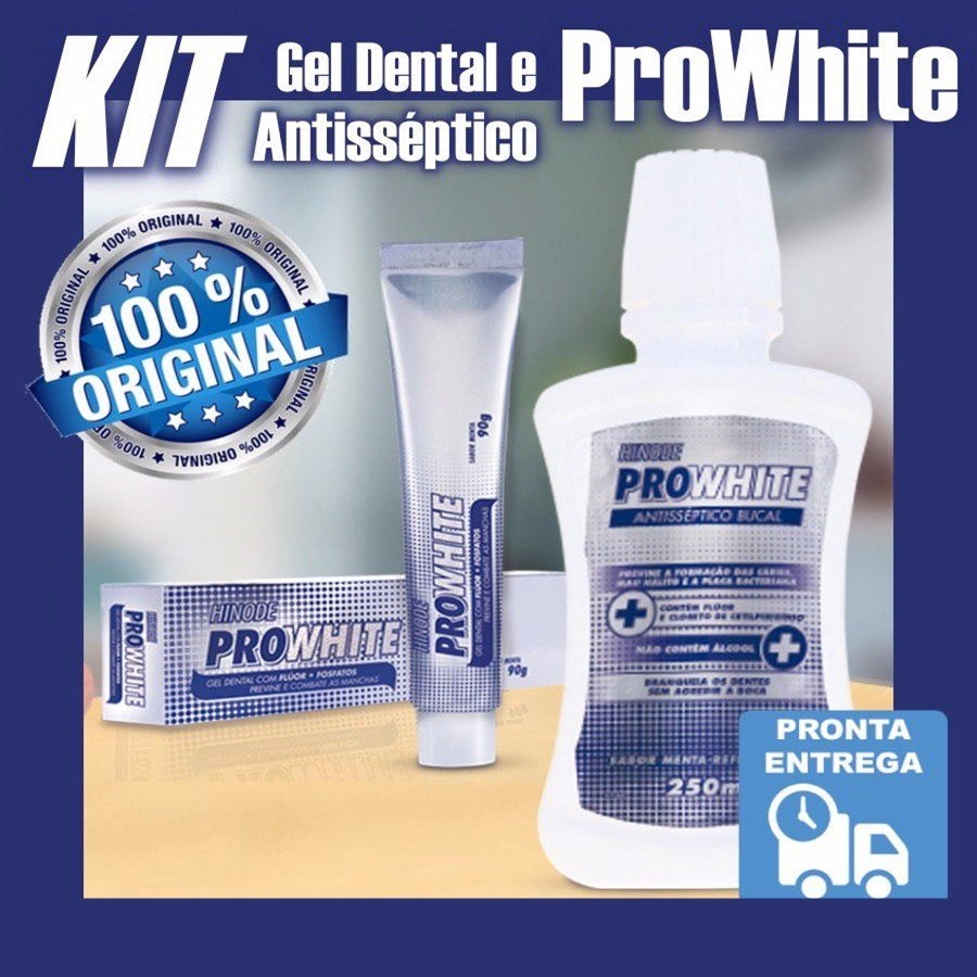 Kit Gel Dental Clareador Pro White Hinode E Antisseptico R 42 00
