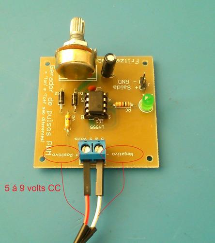kit gerador pwm com circuito integrado 555 p/ aprendizagem