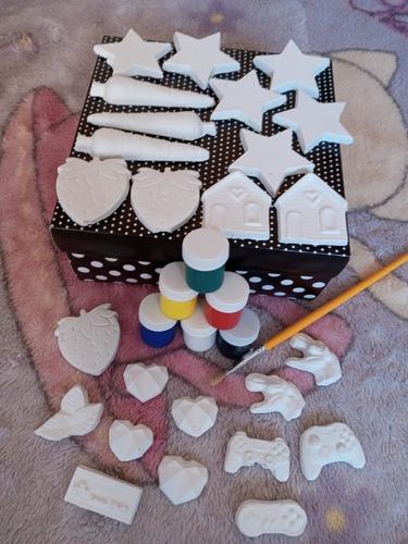 kit gesso infantil 25 peças , 1 pilcel e 1 caixinha de tinta