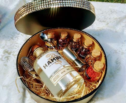 kit gin tônica com especiarias na caixa redonda