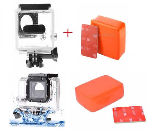 kit go pro 3+/4/hd caixa estanque+adesivo 3m+boia flutuante