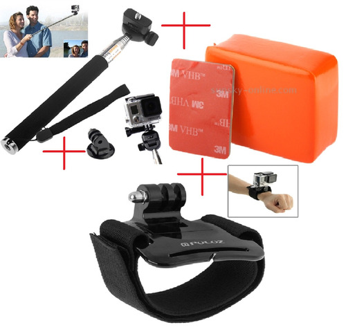 kit go pro bastão pau de selfie pulseira ajustável flutuante