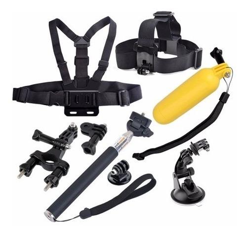 kit go pro cabeça peitoral bike guidão bastão selfie ventosa