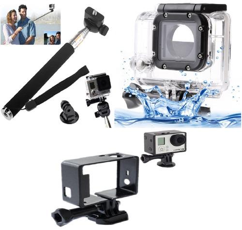 kit go pro hero bastão selfie+caixa protetora+quadro moldura