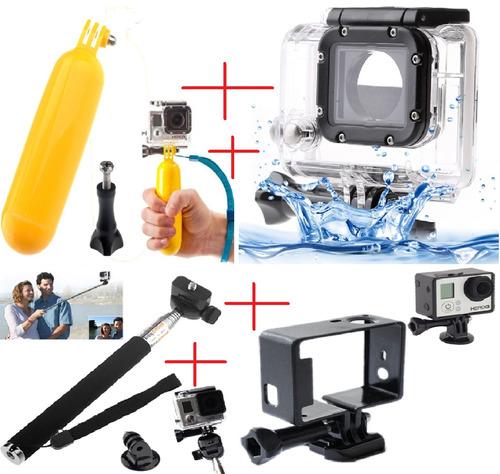 kit go pro hero pau selfie+caixa protetora+quadro+flutuante