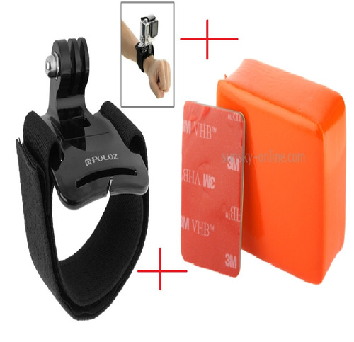 kit go pro pulseira ajustável com boia flutuadora adesivo 3m