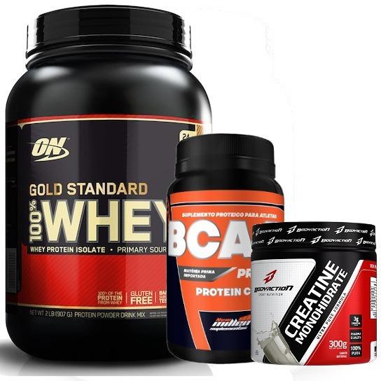 f8adc3691 Kit Gold Standard Whey Protein Isolado 909g + Bcaa +creatina - R ...