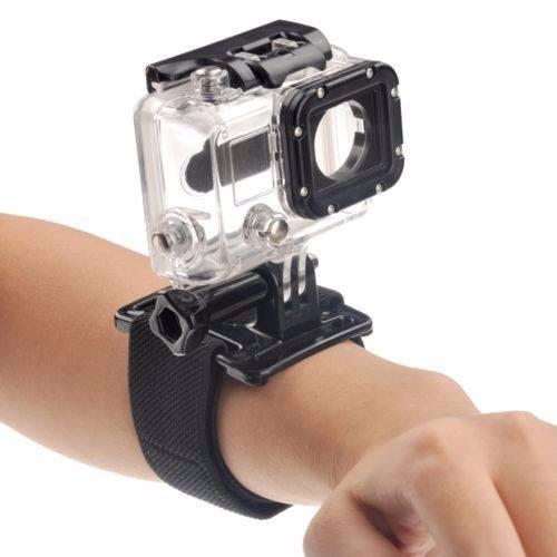 kit gopro 2 4 3 3+ pulseira rotação case protetora estanque