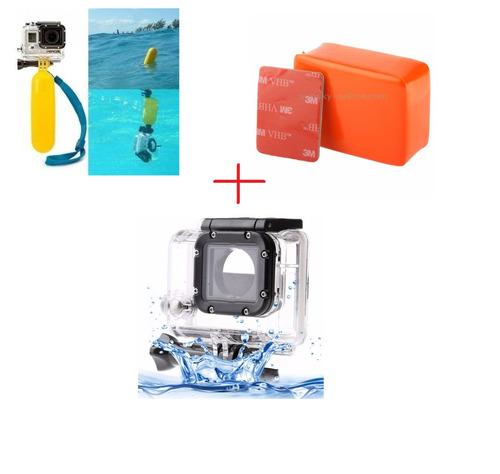 kit gopro caixa estanque+bastão flutuante+boia+adesivo 3m