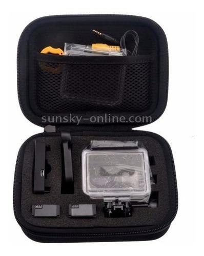 kit gopro case+caixa estanque+boia flutuante+adesivo 3m
