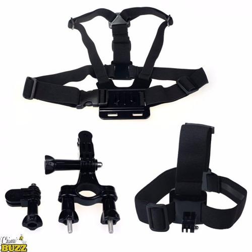 kit gopro faixa cabeça cinturão peitoral guidão mount bike