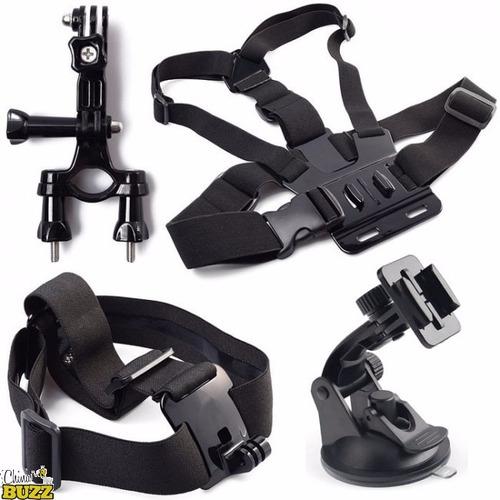 kit gopro faixa cabeça peitoral suporte guidão ventosa vácuo