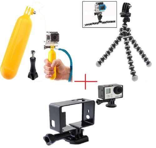 kit gopro flutuante+gorilapod+moldura+parafuso+tripod+strap