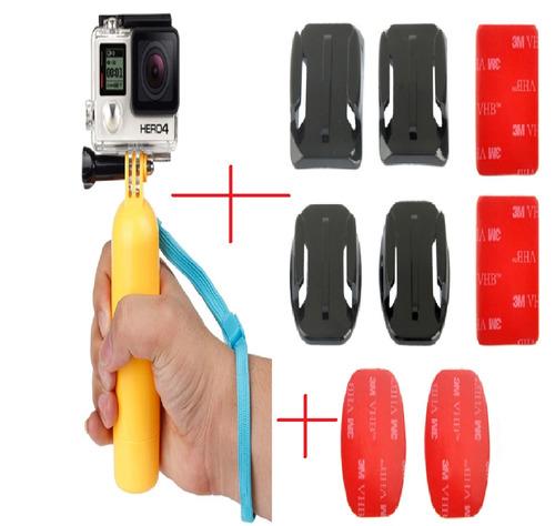 kit gopro flutuante parafuso alça de mão adaptadores adesivo