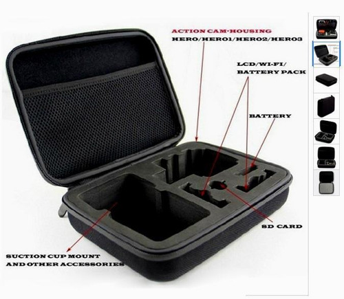 kit gopro hero 5 6 7 black caixa estanque bastão 3 way case