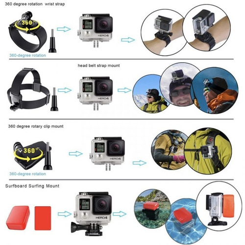 kit gopro para moto, surf, self