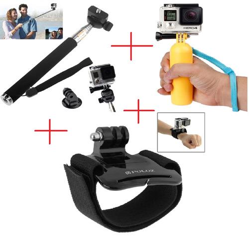 kit gopro pau de selfie tripod pulseira de velcro flutuante