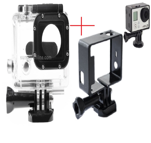 kit gopro quadro armação moldura+caixa estanque