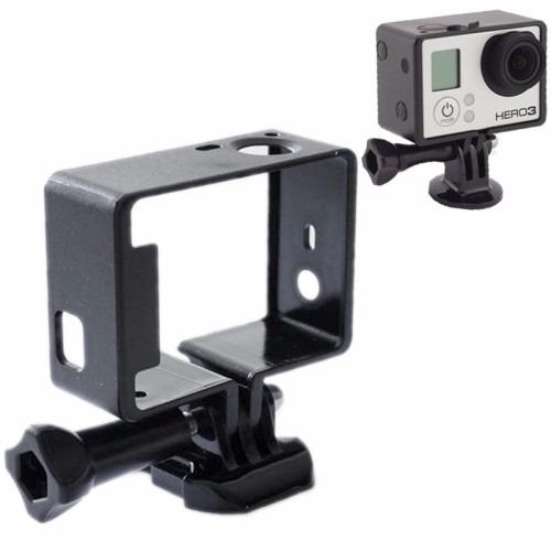 kit goprohero bastão selfie+caixa protetora+moldura frame