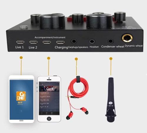 kit grabación micrófono condenser placa sonido auricular