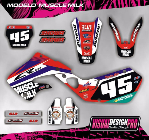 kit grafica calco honda cr 125 - 250 - 98/99 - gruesas