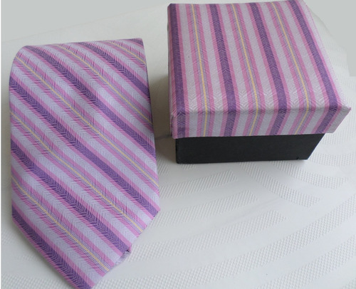 kit gravata abotoaduras e caixa  rosa adulto importada sl1